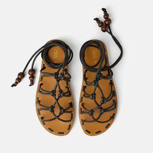 ZARA Natural Low Heeled Tie Sandals